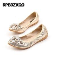 Wholesale Ballet Shoes 11 Black - Large Size Crystal Elastic Pointed Toe Flats Silver Ballerina Beautiful 10 Soft Ballet Women Foldable 33 Rhinestone 11 Shoes