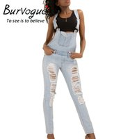 Wholesale Jeans Rompers For Women - Wholesale- Burvogue Women Bib Overall Jeans Rompers Hollow Out Mid Waist Skinny Jeans Pencil Pants for Women Summer Fashion Full Length