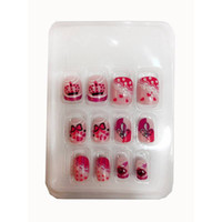 Wholesale Nail Crown Stickers - Wholesale- For Kids Children New 12 pieces Crown 3D Fashion Cute Style Plastic Art Short Fake false Sticker Nail Tips Free Glue Gel [N604]