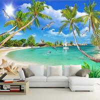 welle wand tapete großhandel-benutzerdefinierte 3 d Fototapete Wandbilder 3D Tapete Strand Baum Wellen Rasen Weg Möwen benutzerdefinierte 3D Wallpaper Home Decor
