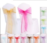 Wholesale Tie Organza Chair Bow - Wedding Favor Sheer Organza Chair Covers Sashes Band 18cm x 275cm Ribbons Bow Party Banquet Event Tie Full Colors DHL Free Delivery