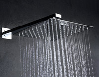 """Wholesale Shower Arm Wall - Whole Sale 8""""Square Ultra-Thin Stainless Steel Rain Shower Head Chrome Stainless Steel With 40cm Length Stainless Steel Shower Arm"""
