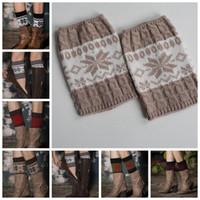 Wholesale girl knit boots for sale - Girl Crochet Knit Lace Trim Toppers Boot Cuffs Leg Warmers Winter Socks Crochet Boots Knitting Flower Winter Warm Leg KKA3269