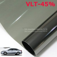Atacado- 50CMX300CM / Lot Car Side Window Tint Film Glass VLT 45% 2PLY Car Auto House Commercial Solar Protection Summer BY Frete grátis