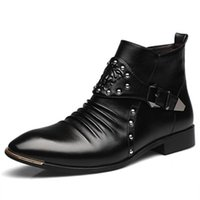 Wholesale Men Pointed Short Boots - Wholesale- Vintage Pointed Toe Spring Autumn Platform Black Ankle Short Boot Men Synthetic Leather Martin Boots Male