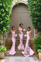 Wholesale Sleeveless Fit Dress - 2017 New Spaghetti Mermaid Bridesmaid Dresses Vintage Lace Train Fitted Backless Summer Maid of Honor Gown Formal Wedding Guest Dress BA2752
