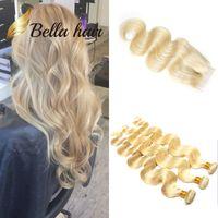 haare bündel zum verkauf schließung großhandel-Bella Hair® 10A 613 blonde Bündel mit Spitzenverschluss 613 jungfräuliche blonde gewellte Haarbündel Körperwelle Verkauf von Echthaarverlängerungen