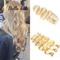 dalgalı saç satışı toptan satış-Bella Hair® 10A 613 dantel kapatma ile sarışın demetleri 613 bakire sarışın dalgalı saç örgü demetleri Vücut Dalga İnsan saç uzantıları satış