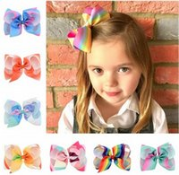 Wholesale Little Girl Fashion Accessories Wholesale - Baby hairpin little girl big Rainbow BOW princess hairband baby girl Children Hair Accessories fashion new kids hair clip baby gift T4466