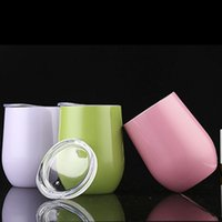 Wholesale Wine Cup Lid Wholesale - Egg Shaped Cup with Logo 9 oz Stainless Steel Stemless Wine Glasses Multicolor Powder Coated Wine Glass Beer Cup With Lid SC001