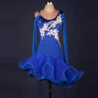 Wholesale royal groups - Latin Dance Dress Rumba Tang Chacha Ballroom Group Competition Blue Flower Group Rhinestones Dance Dress T21