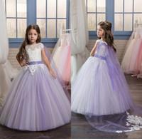Wholesale communion cape - 2017 Pretty White Lace Applique Long Lilac Pageant Dresses for Little Girls Glitz with Cape Puffy Kids First Communion Flower Girl Dresses