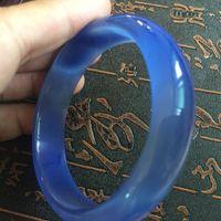 Wholesale Nephrite Jade Bangles - 60mm Chinese Natural Blue Lavender Nephrite Jade  Gems Bracelet Bangle AA01