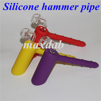 Wholesale tabacoo pipes resale online - hot selling silicone Hammer Handle Pipes Colorfull Smoking Pipes FDA Steady Bubbler for dry Herb and Tabacoo Hookahs