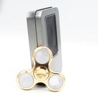 Wholesale Pin Finger - 3 Pins Metal LED flash light Aluminum Zinc Hand Spinner LED Fidget Spinner Finger Fingertip triangle Tri Spinner L029