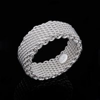Wholesale Crystal Mesh Price - Free P&P best price 925 Sterling Silver fashion jewelry mesh charms ring 10pcs lot hot sale R40