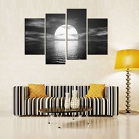 Wholesale 4 Panels Bright Full Moon Painting Black White Seascape Picture Print on Canvas with Wooden Framed Wall Art for Home Decor Ready to Hang