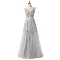 Wholesale special occasion dresses for women online - Silver Real Images Evening Gowns A line Tulle Appliques Quality Appliqued Special Occasion Dresses For Women Custom Made