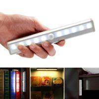 Wholesale Ir Light Bar - 10 leds ir infrared motion detector wireless sensor closet cabinet lamp light light bar auto night light sensor pir motion sensor