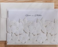 Wholesale Pearl Wedding Invitation Cards - Unique Pearl White Free Personalized & Customized Printing Wedding Invitations Cards Custom Sweet Church 50pcs lot Free Shipping CPA824