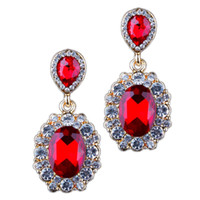 Rhinestone Blue Drop Earrings Pairs Femmes Bijoux Red Gem Cute Fashion Maxi Alloy Big Crystal Flower Earrings Dropshopping Wholesale Trendy