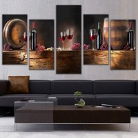 Wholesale Canvas Paintings Wine Glasses - 5 Panel Wall Art Fruit Grape Red Wine Glass Picture Art for Kitchen Bar Wall Decor Canvas Prints Wall Paintings Unframed