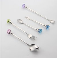 Wholesale diamond Stainless steel fruit noodles fork with cake coffee tea ice cream spoon High grade food soup rice spoon flatware pc set set H46