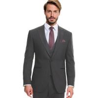 ingrosso miglior vestito di lana-Custom uomo grigio scuro adatta abiti da uomo in lana smoking smoking su misura abiti da uomo (giacca + gilet + pantaloni)