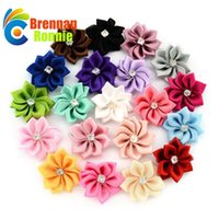 Wholesale crafts embellishments - 100PCS Lot Polygonal Flower WITHOUT CLIP Handmade DIY Accessory Satin Ribbon Wedding Scrapbooking Embellishment Crafts Accessory