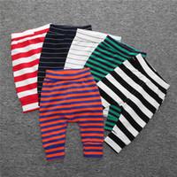 calças de algodão para meninas venda por atacado-Inverno Leggings Do Bebê Calças Listradas Inferiores Meninos meninas Terry algodão Roupas de bebê Calças Harem pant atacado 2019