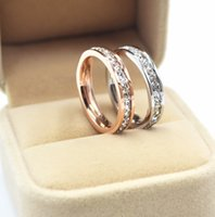 Wholesale Diamond Engagement Ring Charm - 2017 Promotion High Quality Lovers Rings 18K Rose Gold Charms 316L Stainless Steel Diamond Wedding Rings Jewelry Free Shipping PS4340