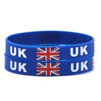 Wholesale Britain Flags - United Kingdom National Flag Design Bracelets Britain Football World Cup 100% Silicone Gym Fitness Gel Wristband Travel Bracelets