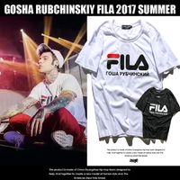 Wholesale Printed Logo Shirt - Gosha Rubchinskiy x Fila Tee Logo T-Shirts Mens Womens bonjour madameTee Shirt Hip Hop Triangle Printed Short Sleeve Streetwear T Shirts