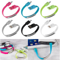 Wholesale Mix Color Bracelet - Bracelet Hand Wrist Data Sync Charger Charging USB Cable Fast Charging Portable Noodle Usb Charger Cable For Micro V8 Android