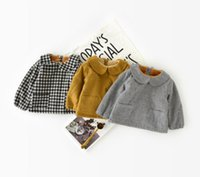 Wholesale Thickening Plaid Shirt - Baby plaid doll shirt little girls stripe falbala collar princess tops winter toddler kids behind single breasted thicken blouses R0255