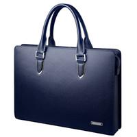 Wholesale lawyers briefcase - New 2017 leather briefcase design men's business lawyer business handbag laptop bag portfolio office messenger bag