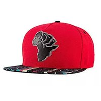 Wholesale Baseball Africa - Map of Africa Embroidered Flat Baseball Hat Snapback Print Baseball Cap Flat Brim Hat New Fashion Embroidered Flat Korea Fitted Hiphop Cap