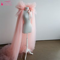 Wholesale tulle bridal jacket cape - Pink Tulle Cape wedding bolero Long Cheap Simple wedding accessories Fashion women bolero Bridal Long Jacket
