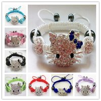 Wholesale Kids Bangle Bracelets Sale - High End Summer Sale Crystal Rhinestone Beaded Handmade Designer Jewelry Different Line Kid Charm Hello Kitty Shamballa Bracelets Bangles
