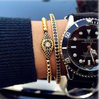 Wholesale Stainless Steel European Bracelets - Anil Arjandas Bracelets Micro Inlay Black CZ Eyes Charm Wristbands Stoppers Beads Briading Macrame Bangle Stainless Steel Men Jewelry