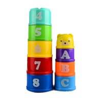 Atacado - BOHS Piling Cup Empilhando a Rainbow Tower Folding Brilliant Basics Stack Roll Nesting Baby Developmental Baby Toy, 1set = 9pcs