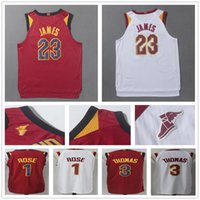 Wholesale Mens Style Cheap - 2017 2018 New Style Mens #23 Lebron Jersey Burgundy Red White Color Cheap Stitched #1 Derrick Rose 3 Isaiah Thomas Basketball Jerseys