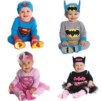 Wholesale Boys Superman Halloween Costumes - Infants Baby Boys Girls Long Sleeve Superman Romper+Hat 2Pcs Set Children Halloween Christmas Party Costume Kids Bodysuit Jumpsuit
