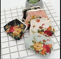 Wholesale Wholesale Purse Decorations - fashion clutch bag vintage canvas wallet flower decoration coin purse card holder gift bags key holder free shipping