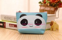 panda münze geldbörse niedlich großhandel-Wholesale- nette 10 * 8cm Panda PU kleine Geschenk-Münzen-Beutel-Geldbeutel-Mappen-Beutel; Frauen Mini-Handtasche BAG ändern Halter-Kasten