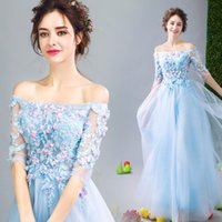 Wholesale Exotic Lace Wedding Dresses - Exotic Dreams Wedding Toast Dresses Blue Wedding Dresses Flowers Half Sleeve Off The Shoulder Wedding Dinners Dresses
