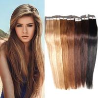 Wholesale Extension Tapes - Brazilian Blonde Brown Tape In Human Hair Extensions Remy Human Hair Skin Weft Multi Color Straight Crochet Hair Extension 50g 20bundles