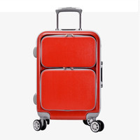 Wholesale Commercial Luggage Trolley - New High Quality Retro Luggage 24 Inch Men Commercial PC Aluminum frame 4 wheels Trolley Travel Suitcase bag woman sports Computer bags