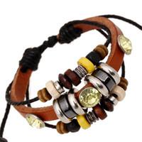 Wholesale Yellow Braided Bracelets Wholesale - Charms Bracelets Inlaid Yellow Rhinestone Bead Leather Infinity Multilayer Braided Bracelets for Men Jewelry New Style Fashion DHL