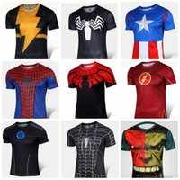 Wholesale Hulk T Shirts - spiderman t shirt men casual sportswear Spiderman Venom Ironman Superman Captain America green hulk X-man Punisher T shirt Avengers